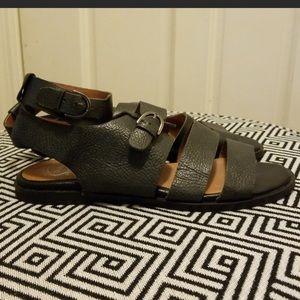 Jefferey Campbell bon voyage black leather sandal